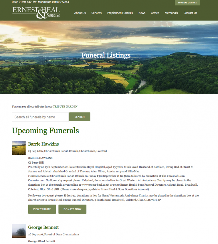 Ernest Heal & Sons Ltd Funeral Listings page