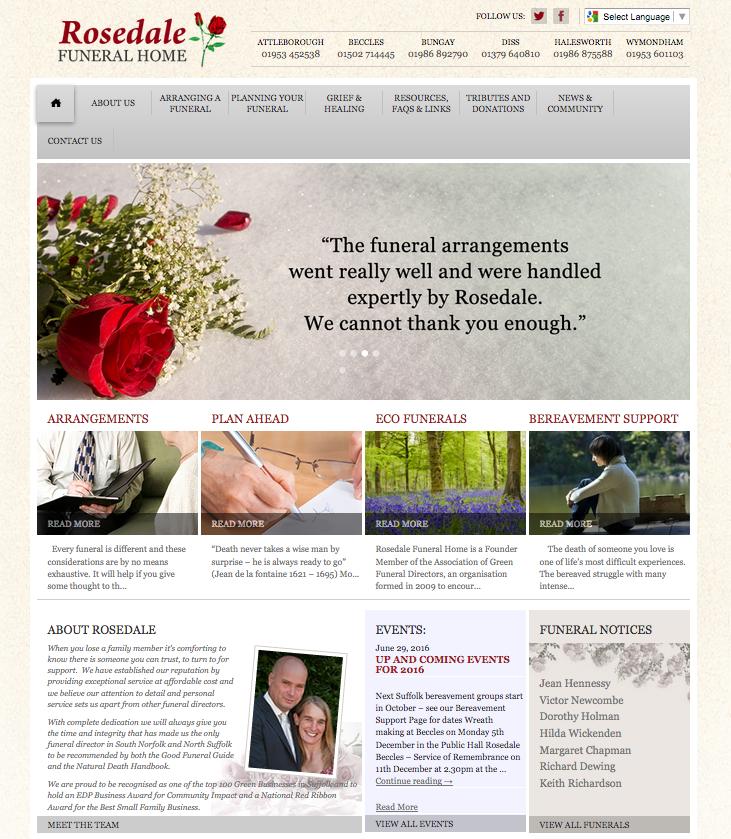 Rosedale Funeral Home, homepage