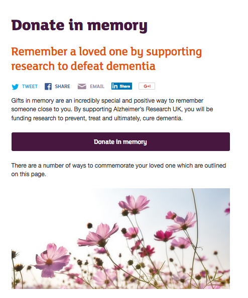 Alzheimer's Research UK Donate In Memory