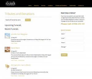 Fred Hamer Funeral Services Funeral Notice and Donation Processing Service